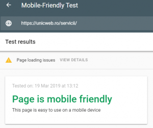 Rezultatul de la testul pentru paginile web