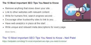 Fragment recomandat la rezultatele Google - element important in 2019