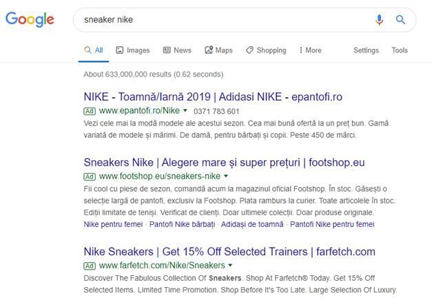 cautare google nike sneakers