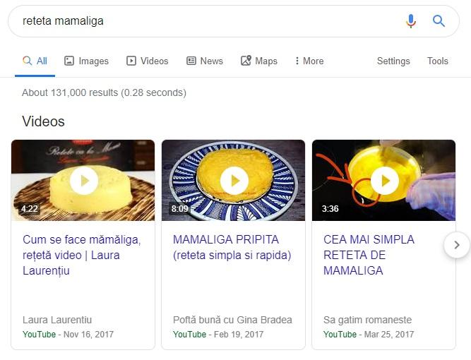 "Un screenshot cu rezultatele video ale cutarii pentru ""reteta mamaliga"""