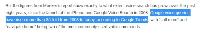 Screenshot cu informatii: cautarile vocale sunt de 35 de ori mai numeroase acum decat erau in 2008