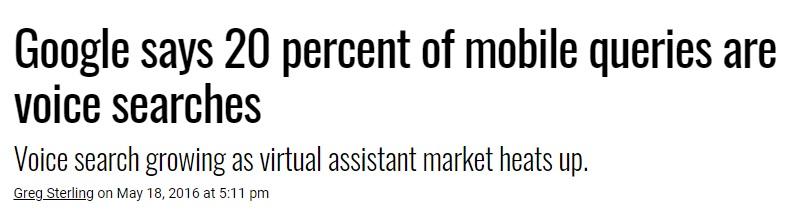 Screenshot despre cum 20% dintre cautarile mobile sunt de fapt cautari vocale