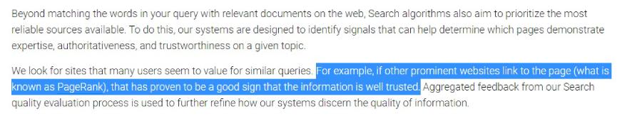 Screenshot cu o declaratie Google, din care reiese ca backlink-urile inca joaca un rol important in promovarea SEO