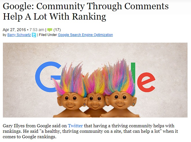 Un screenshot cu titlul unui articol al celor de la seroundtable care, direct de la sursa, respectiv Google, lanseaza informatia conform careia o comunitate creata pe site te ajuta enorm cu cresterea pozitiei in rezultate