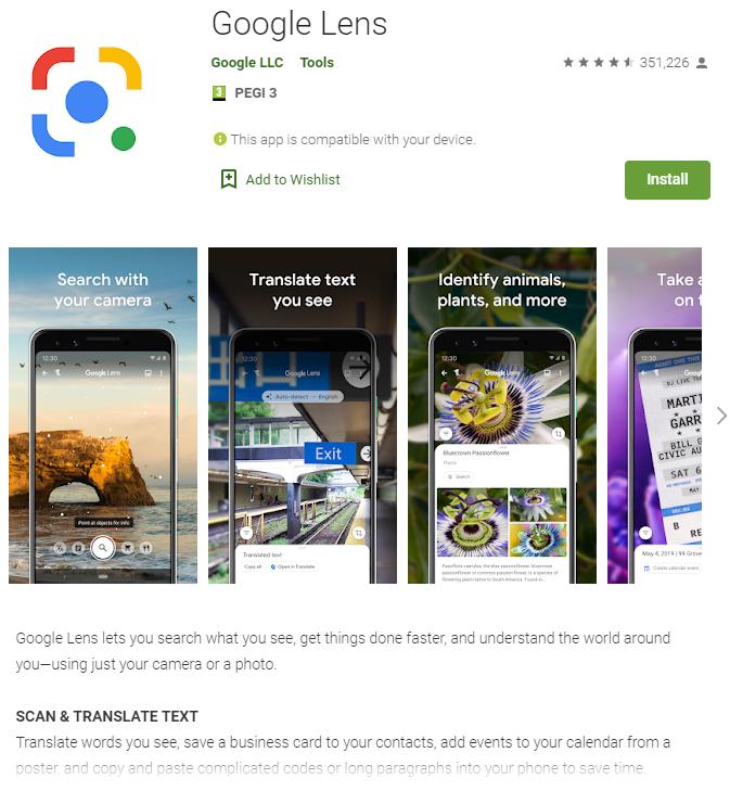 Un printscreen cu prezentarea aplicatiei Google Lens in Magazin Play pentru a fi descarcata